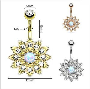 14G Sun Flower Petal Bauchnabelpiercing Gold Silber Kristall Bauchnabel Ringe Piercing Schmuck