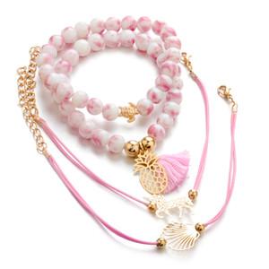 4pcs set PINK geflochtene Armband Perlen handwear Charme tropischen Ananas Beads Stränge Shell Armband Strand tragen Urlaub böhmischen Schmuck