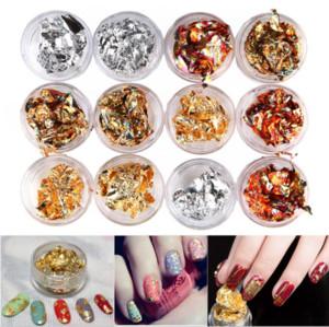 12 Caixas / lote Ouro Prata Cobre Nail Art Polonês Glitter Foil Paillette Chip de Adesivos Decalques Dicas de Design Decoração Manicure Conjunto de Ferramentas