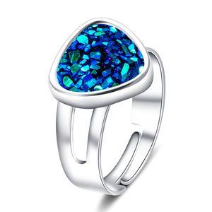 Mode Harz Druzy drusy Ring Silber überzogene Dreieck Geometrie Faux Stein Ring für Frauen Marke Schmuck