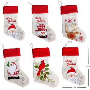 Sac de cadeau de Noël de 20 pouces bas style de broderie lin Santa Claus Xmas Stocking Holders décoration Nouvel An Decor For Home