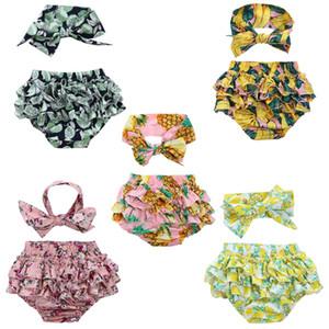 Lovely Flounce Ruffle Neonate Floral Slip + Fascia da fiocchetto Cute Summer Beach Costumi da bagno Pantaloni corti Vestiti