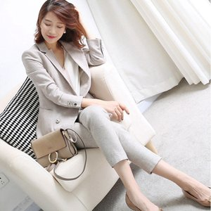 BGTEEVER Gri Kalınlaşmak Kadın Pantolon Zarif 2 Parça Suits Setleri Çentikli Blazer Kalem Pantolon Ofis Lady Kadın 2018 Kış Suits