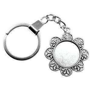 6 Pieces Key Chain Women Key Rings Car Keychain For Keys Flower Single Side Inner Size 20mm Round Cabochon Cameo Base Tray Bezel Blank