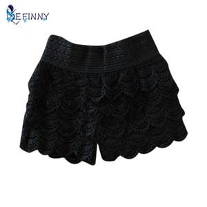 EFINNY Eté 2017 Mode Femmes Shorts Dentelle Crochet Taille Élastique Shorts Slim