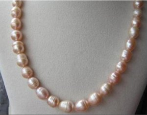 beautiful 9-12MM natural pink south sea Pearl Necklace 18