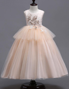 Lace Little Kids Flower Girl Dresses Principessa Bateau Neck Tulle 3d Floral Layered Girls 'Pageant Short Formal Wears per la cerimonia nuziale MC1625