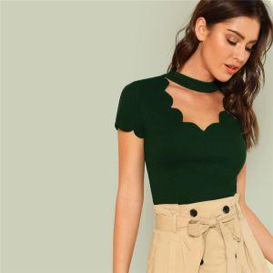 Poliéster Verde Elegante Cuello simulado Concha de vieira Recortada Camiseta con cuello en V Camiseta sólida Verano Mujer Fin de semana Casual Camiseta Top Mujer