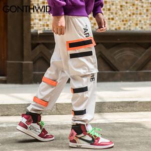Lado masculino GONTHWID bolsillos Harem 2018 Hip Hop varón ocasional de los pantalones de la manera tatical Joggers Pantalones Casual Streetwear