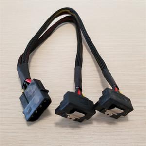 Atacado 100 pçs / lote PSU 4Pin IDE Molex para Dual 90 Graus Para Baixo Ângulo 15Pin SATA Cabo De Alimentação Cabo 18AWG Fio Para HDD SSD PC DIY