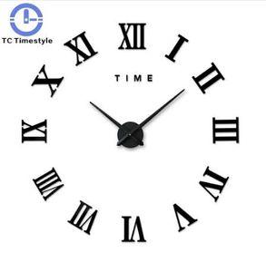3d 큰 벽 시계 로마 숫자 거울 벽 스티커 DIY 거실 홈 벽 장식 패션 시계 스티커