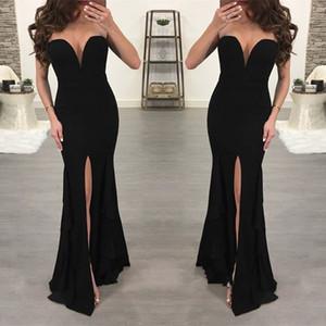 Robes de soirée sirène noire sexy sans bretelles haut split magnifique étage longueur de plancher robes longues de dîner pour occasions spéciales formel
