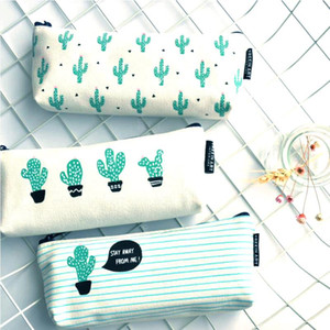 2018 Cactus Étui à crayons en toile Fournitures scolaires Kawaii Papeterie Estuches École Mignon Trousse 04907