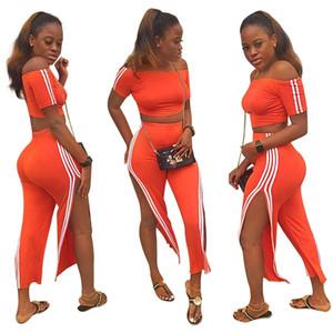 Frauen Kurzarm Crop Trainingsanzüge Orange Slash Neck Side Stripes Printed Top und Side Split Nine Pant Set Sport 2 PC Outfits