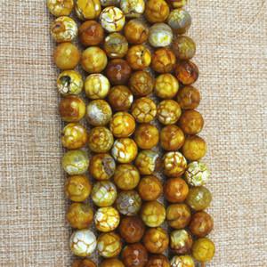 6-16mm Naturel jaune nouvelle agate de feu coupe ronde perles en vrac DIY bijoux accessoires semi-produits produits de style européen et américain