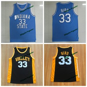 Mens Indiana State Sycamores Larry Bird College Basket Blayys # 33 New Valley High School Larry Bird Cucitato Giallo Red Shirts