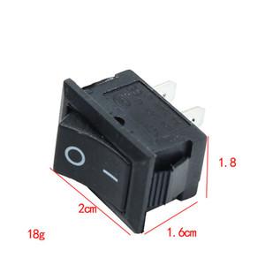 10 pzs. Mini interruptor de botón negro 6A-10A 110V 250V KCD1-101 Interruptor oscilante de encendido / apagado a presión de 2 pines 21 mm x 15 mm
