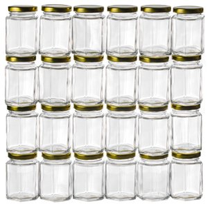 Venta al por mayor: tarros de vidrio hexagonal de 3.75OZ, paquete a granel 24, USD54.00 por 24PCS / cada uno USD2.25