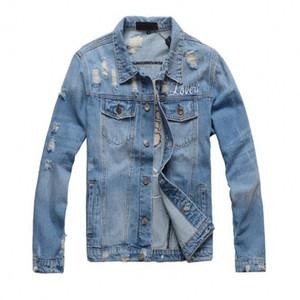 2018 Nuova moto Lettera giacca stampa giacca di jeans famoso bombardiere alta moda Denim Slim giacca a vento abbigliamento jean Mens