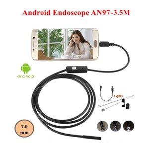 Android Endoscopio 7 MM Lens 6LED Micro USB Endoscopio Camera 3,5 M Impermeabile Car Inspection Snake Tube Mini fotocamera