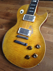 Custom Shop Gary Moore Peter Green Flame Bege Top Relic da guitarra elétrica Um PC Neck (Sem Lenço Conjunto), Tribute Aged 1959 Smoked Sunburst