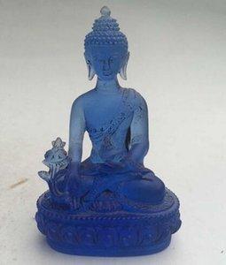 12 cm * / Rare Blue Chines Crystal Glass Liuli estatua de Buda