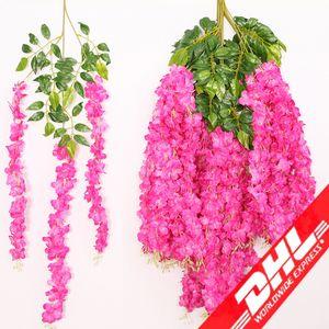 110 cm Yapay ivy çiçekler Ipek Çiçek Wisteria Vine çiçek Rattan Düğün Centerpieces Süslemeleri için Buket Garland