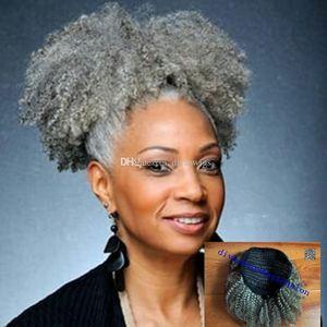 Donne Grigio Prolunga per capelli Argento Grigio Afro Puff Afro Kinky Riccio Cappici Human Capytails Ponytails Clip in capelli reali 80 g 100g 120g