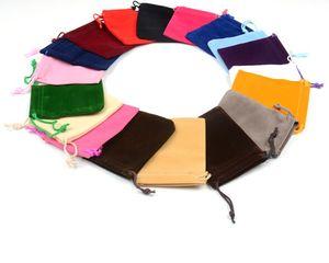 Atacado-Ring Box Caixa De Jóias De Exibição frete Grátis 100 pcs Mix Cor 7x9 cm Velvet Bag / saco de jóias / bolsa de veludo, Bolsa Saco / saco de presente livre