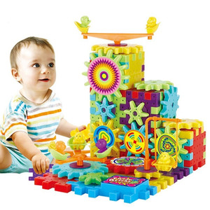 81 шт. электрические шестерни 3D головоломки Строительные наборы пластиковые кирпичи развивающие игрушки для детей Игрушки для детей Рождественский подарок