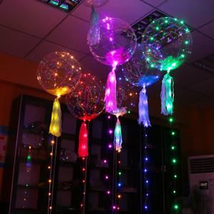 Balões de LED Night Light Up Brinquedos claro balão 3 M Luzes Da Corda Flasher bolas de onda transparente Iluminação Hélio Balões decoração do partido