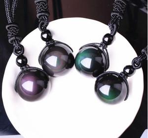 Naturstein schwarz Obsidian Rainbow Eye Perlen Ball Anhänger Halskette Transfer Lucky Love Kristall Schmuck mit freien Seil für Frauen und Männer