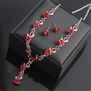 Rose Collier Fleur mariage strass mode collier boucle d'oreille Ensembles bijoux de mariée Set bijoux Perles d'Afrique Coffret de Noël