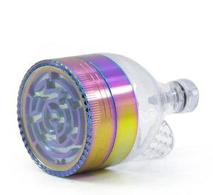 Smoking kit diametro 63mm labirinto blu ghiaccio in lega di zinco 3 strati imbuto arcobaleno dispositivo di fumo rettifica