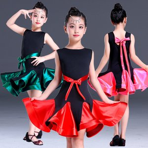 소녀를위한 라틴 댄스 복장 볼룸 공모전 라틴 살사 복장 키즈 룸바 럼바 삼바 어린이 2018 Tango Skirt Stage Wear