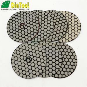 """DIATOOL 7pcs / set Dia 4 """"/ 100mm Dry Diamond Disque de ponçage flexible Résine Bond Plaquettes de polissage pour Granit et marbre"""