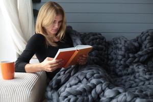 60x60cm / 80x100см ручной работы коренастый мягкий гигантский вязаный одеяло шерсть толстая пряжа меринос бросать домашний декор