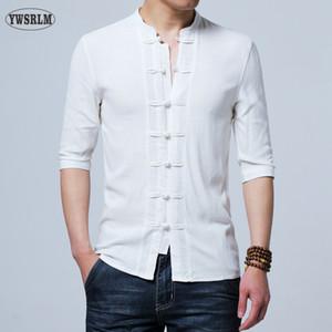 Toptan-Çin tarzı Keten yaz pantolon işlemeli iplik erkek gömlek erkek uzun kollu gömlek erkek retro pamuk gömlek