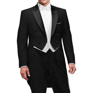 Trois pièces noir mariage marié tailcoat 2018 double boutonnage boutonnière revers meilleurs hommes costumes sur mesure veste fait blanc veste pantalon