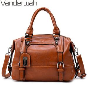 VANDERWAH  Boston Women Bag Vintage Four Belts Shoulder Bag Sequined Women Handbags Designer PU Leather Bags For 2018