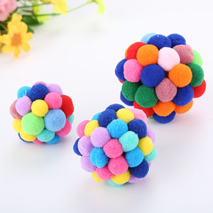 2018 New Pet Cat Toy Colorful Handmade Bells Bouncy Ball Built-In Catnip Interactive Toy Animals Products