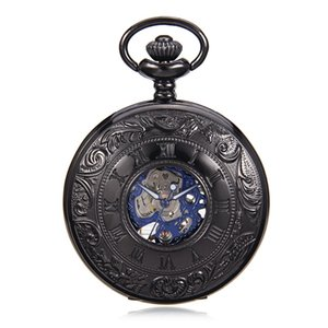 Antique Style Roman Number Skeleton Steampunk Hollow Case Blue Hands Scale Mechanical Pocket Watch for Men Half Hunter Watch