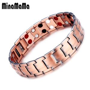 Di alta qualità Larghezza Vintage Red Copper Chain Link Arthritis Therapy Germanio braccialetto magnetico per uomo donna gioielli maschili