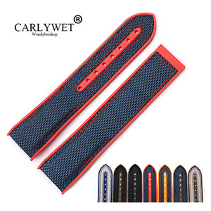 CARLYWET 20 22mm Wholesale Rubber Silicone With Nylon Replacement Watch Band Strap Belt