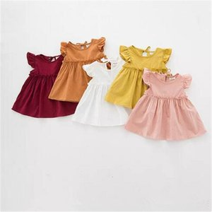 NEW arrival Hot selling summer Girls flying Sleeveless solid color Shirt baby kids round collar 100% cotton shirt 5 colors B11