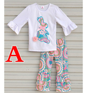 EASTER 데이 Xmas 봄 가을 겨울 Girls Boutique Outfits 흰색 Ruffle sleeved Tshirt 상위 2pc 세트 목화 꽃 전체 프린트 팬티 베이비 옷