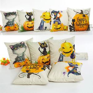 Halloween Pumpkin Pillow Case Lino federa casa divano auto decorativi regali di natale decorativi casa senza nucleo 45 * 45 cm DHL libero WX9-858