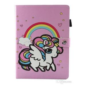 Cute Unicorn Flower Print Kid PU Leather Flip Magnetic for ipad Mini 123 Mini 4 New ipad 2017 2 3 4 Air 2 Samsung Tablet T280 T380 T585