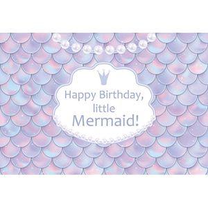 Little Mermaid Photo Backdrop Escamas impresas Perla Recién Nacido Baby Shower Prop Princesa Girl's Birthday Party fondo Personalizado