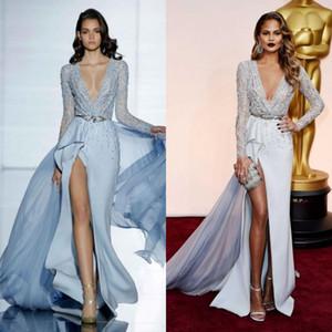 Zuhair Murad 2019 robes de soirée divisées à manches longues décolleté plongeant fente latérale agrémentées de perles CHRISSY TEIGEN robes de célébrités de bal